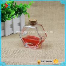 90ml 3oz Oblato Hexágono vidro Honey Jar Jarro de alvenaria com cortiça