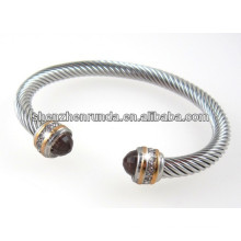 DESIGNER INSPIRED STAINLESS STEEL CABLE BANGLE WITH CRYSTAL STONES