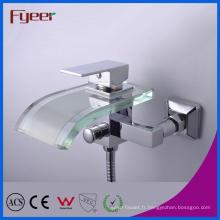 Robinet de mélangeur de bain de cascade de salle de bains de Fyeer avec le déviateur