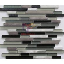 Classical Grey and Black Glass Mixed Aluminium Mosaic (CFA69)
