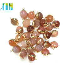 Natural Druzy Agate Faced Beads Double Connectors Wrapped Gold Charms For Making Bracelet Pendant Jewelry