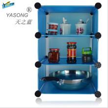Prateleira de armazenamento em rack de sapato azul para cozinha