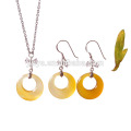 Mode Simple Design Naturel Agate Pierre Collier Boucle D'oreille Argent Bijoux Ensemble