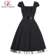 Grace Karin Stock Cap Sleeve Square Neck High Stretchy Black Retro Vintage Dress CL008951-1