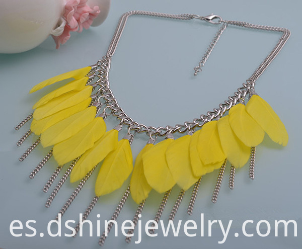 Costume Jewelry With Feather Necklace