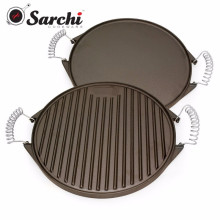 Cast Iron Reversible Griddle Pan With Spring Handles