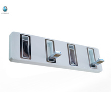 Wall mounted white and chrome brass shower room towel hook hanger