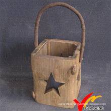 Hand Carved Christmas Home Hanging Wood Lantern with Star