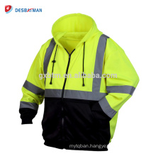 China Manufacturer Hi Vis Full Zip Safety Hoodie with 3M Reflective Tape and Pockets Class 3