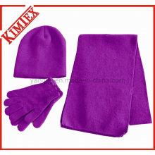 Conjunto aquecedor de inverno acrílico, lenço, chapéu, luva