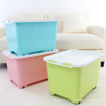 40L Colorful Plastic Storage Container Box with Wheels (SLSN039)