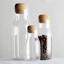 600 ml sealed high borosilicate glass milk jar with cork lid container jars glass storage