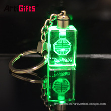Custom lucky laser engraving glass bottle photo crystal led light keychain with charms