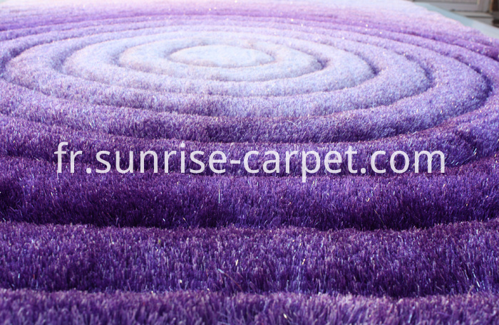 Polyester Shaggy 3D design in Purple Color