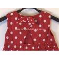girls red dots princess dress with bowknots