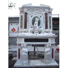 Lareira de mármore com Mantel de pedra esculpida (QY-LS261)