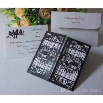 Öffnen Sie Liebes-Tür-hohles Herz mit dem liebevollen Vogel-Laser-Schnitt-Schwarzweiss-Hochzeits-Einladungs-Karte Laser-Schnitt ML280