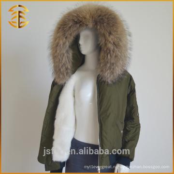 Зимняя новая женская армия Зеленая обычная толстая лисица Raccoon Fur Parka