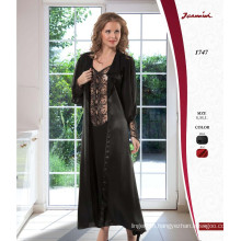 Transparent Black Robe and Nightdress Set