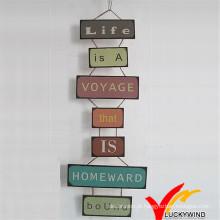 Placa decorativa do sinal da parede do metal do vintage chique gasto de Luckywind