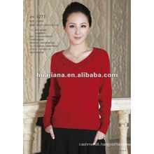 Good quality women's cashmere V neck sweater