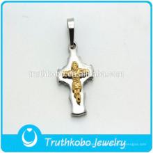 TKB-P0238 Acero Inoxidable Plateado / Dorado Cruz Jesús Crucifijo Collar Colgante Para Hombres
