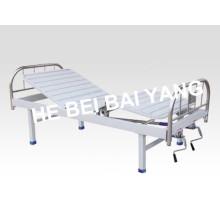 (A-129) Cama de hospital manual de função dupla com cabeça de cama de aço inoxidável