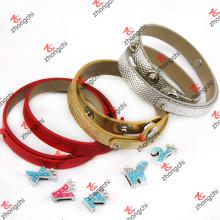 Clássico 8mm duplo círculo pulseira jóias de couro para senhora (B-24)