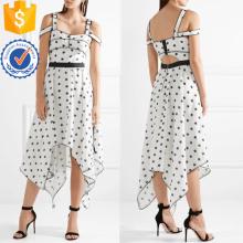 Холодное плечо без рукавов асимметричный белый и черный печатных летнее платье Производство Оптовая продажа женской одежды (TA0301D)