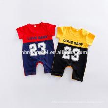 Детская одежда 2016 баскетбол спорт дизайнер дешевые модные мальчиков популярные летние простые органический хлопок ребенка ползунки
