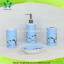 penguin decal design blue bathroom accessory set in ceramic