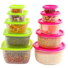 5 Pieces Sets plastic Lunch Box Portable Bowl  Food Container Lunchbox Eco-Friendly Food  Storage Boxes Kitchen Seal Box