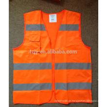 colete de segurança refletivo laranja com zíper e bolso