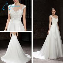 A-Line Lace Appliques Pleat Sashes Sexy Wedding Dress Plus Size