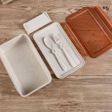 Eco-friendly palha de trigo plástico crianças almoço caixa talheres