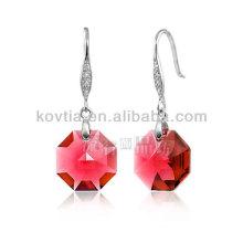 Wholesale elegant red diamond crystal dangle earrings for ladies