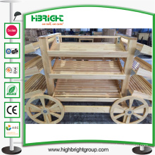 Wooden Fruits Car and Vegetables Display Racks for Stores