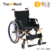 Cadeira de rodas manual dobrável de alumínio Topmedi para deficientes físicos
