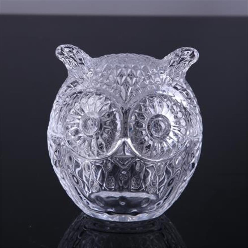 Owl Shaped Glass Candy Jars Colorful Glass
