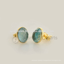 Best Quality 925 Sterling Silver Gold Plated Gemstone Bezel Earrings, Natural Gemstone Stud Earrings Jewelry Manufacturer