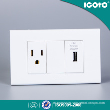 American Standard 3 Pin Receptacle with USB Plug Charger Power Point Electrical Socket