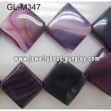 Across corners square agate bead-dark purple