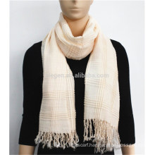 Plain Color Acrylic Printed Scarf with tassel