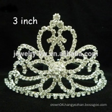 fashion metal silver plated crystal flower shape winter headband crown