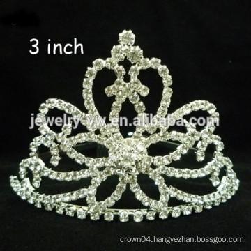 fashion metal silver plated crystal flower shape winter headband crown