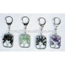 Porte-clés pendentif en pierre gemme à l'arbre chanceux