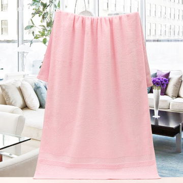 Cotton Pink Bath Towels dengan Dobby Satin