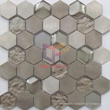 Hexagon Light Gold Color Aluminium Mix Crystal Mosaic Tile (CFM1029)