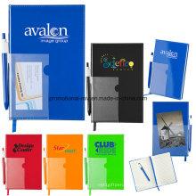 Cuaderno laminado de 80 páginas con forro de PVC con plumas y marcadores
