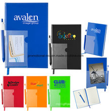 80-Page Lined PVC Laminated Cover Notebook with Pens and Bookmarks